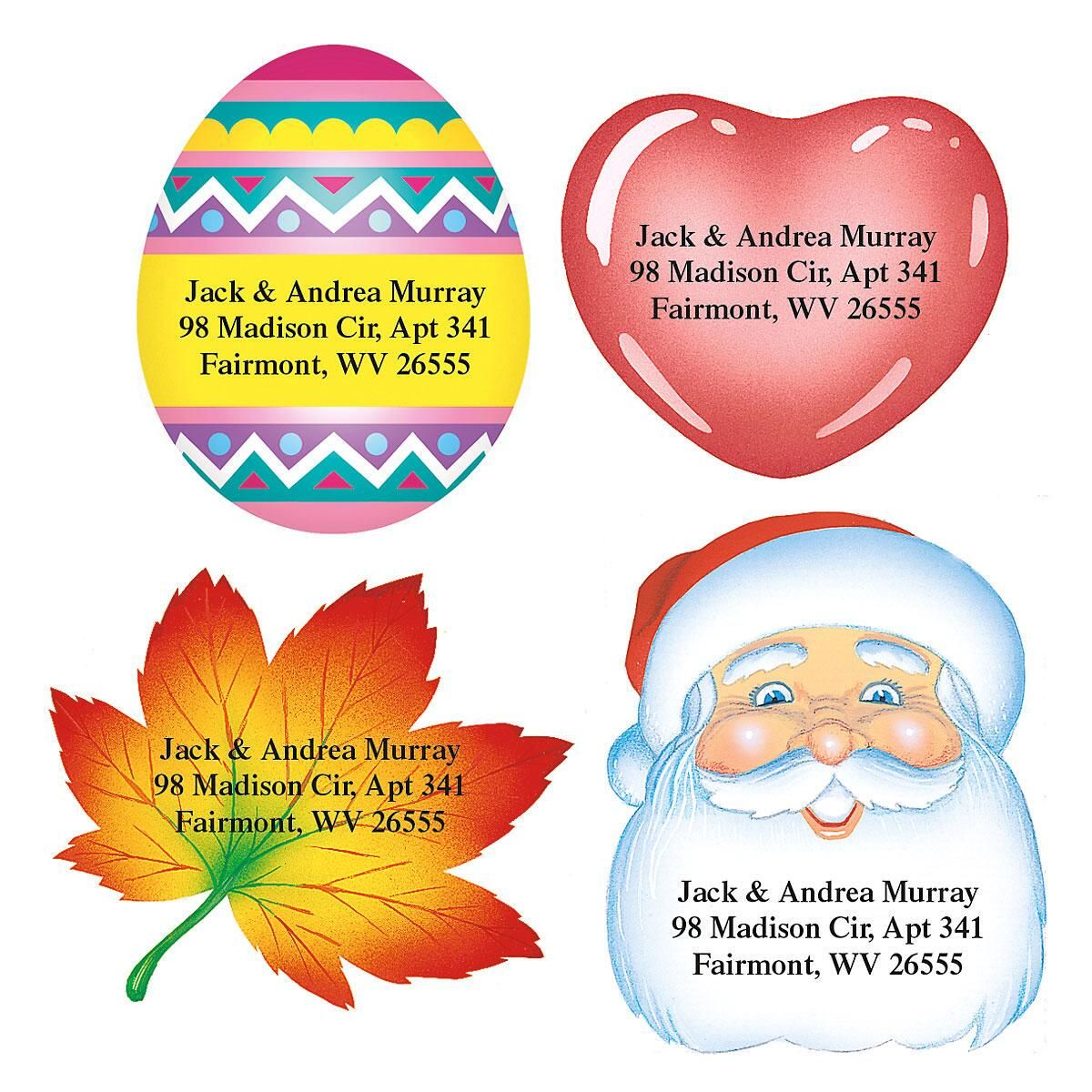 Holidays Year-Round Diecut Address Labels  (12 Designs)
