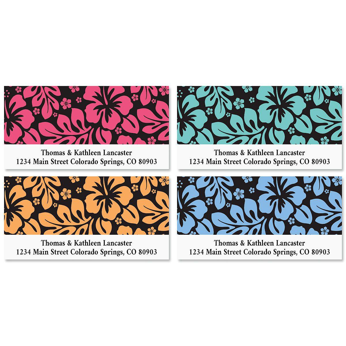 Hibiscus Deluxe Return Address Labels (4 Designs)
