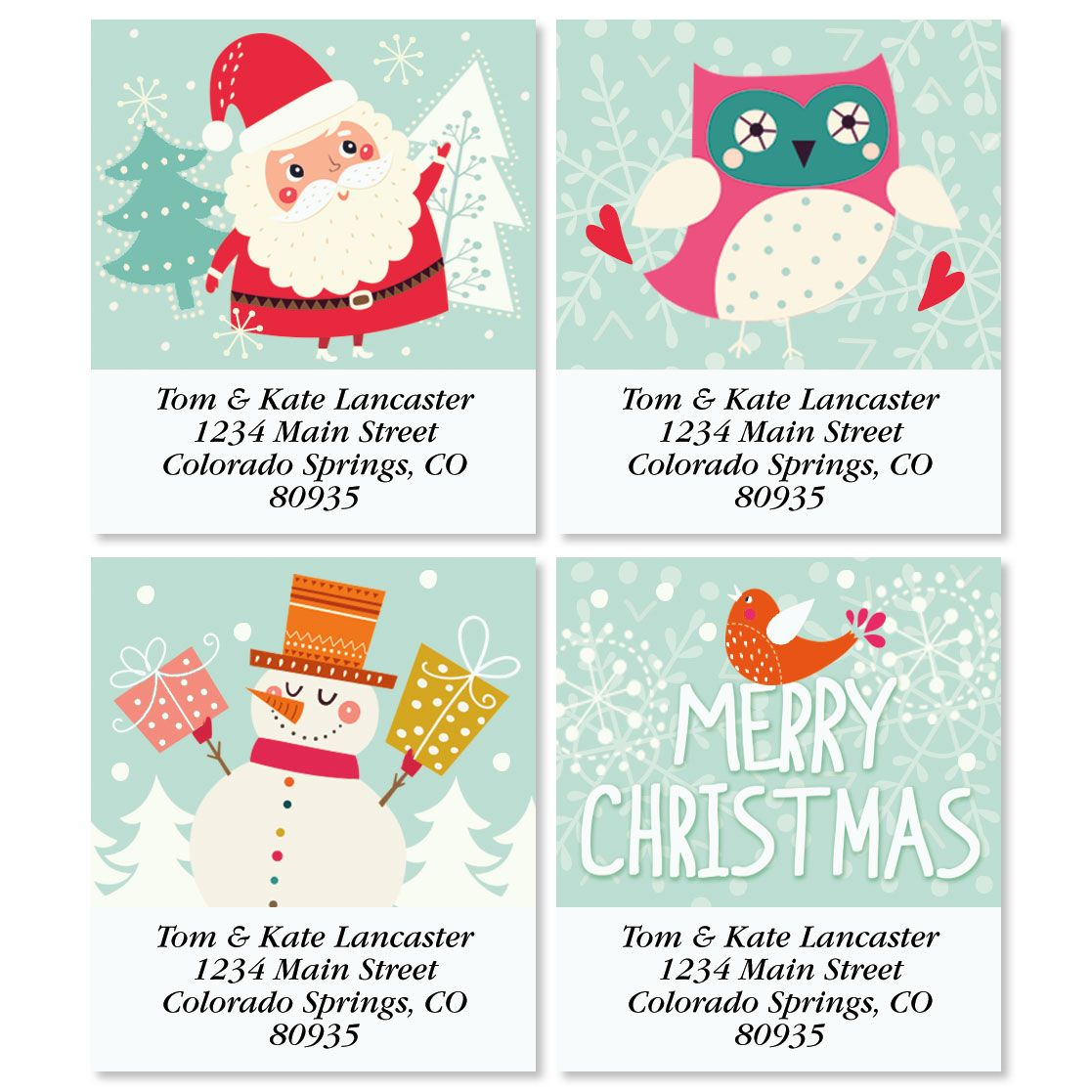 Cheerful Christmas Select Return Address Labels (4 Designs)