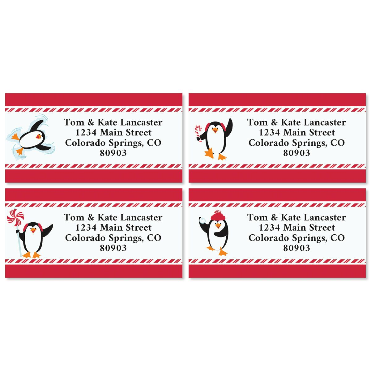 Peppermint Penguins Border Christmas Address Labels (4 Designs)