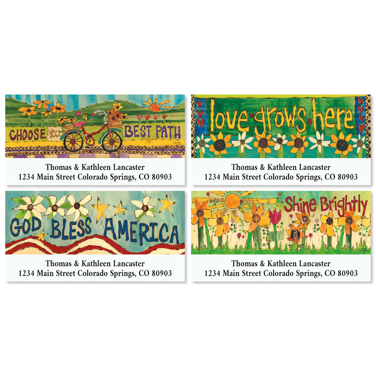 Garden Words Deluxe Return Address Labels (4 Designs)