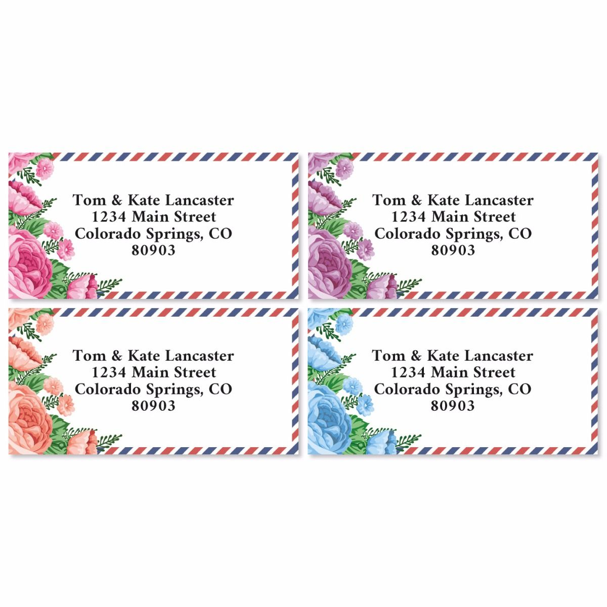 Floral Postal Border Return Address Labels (4 Designs)