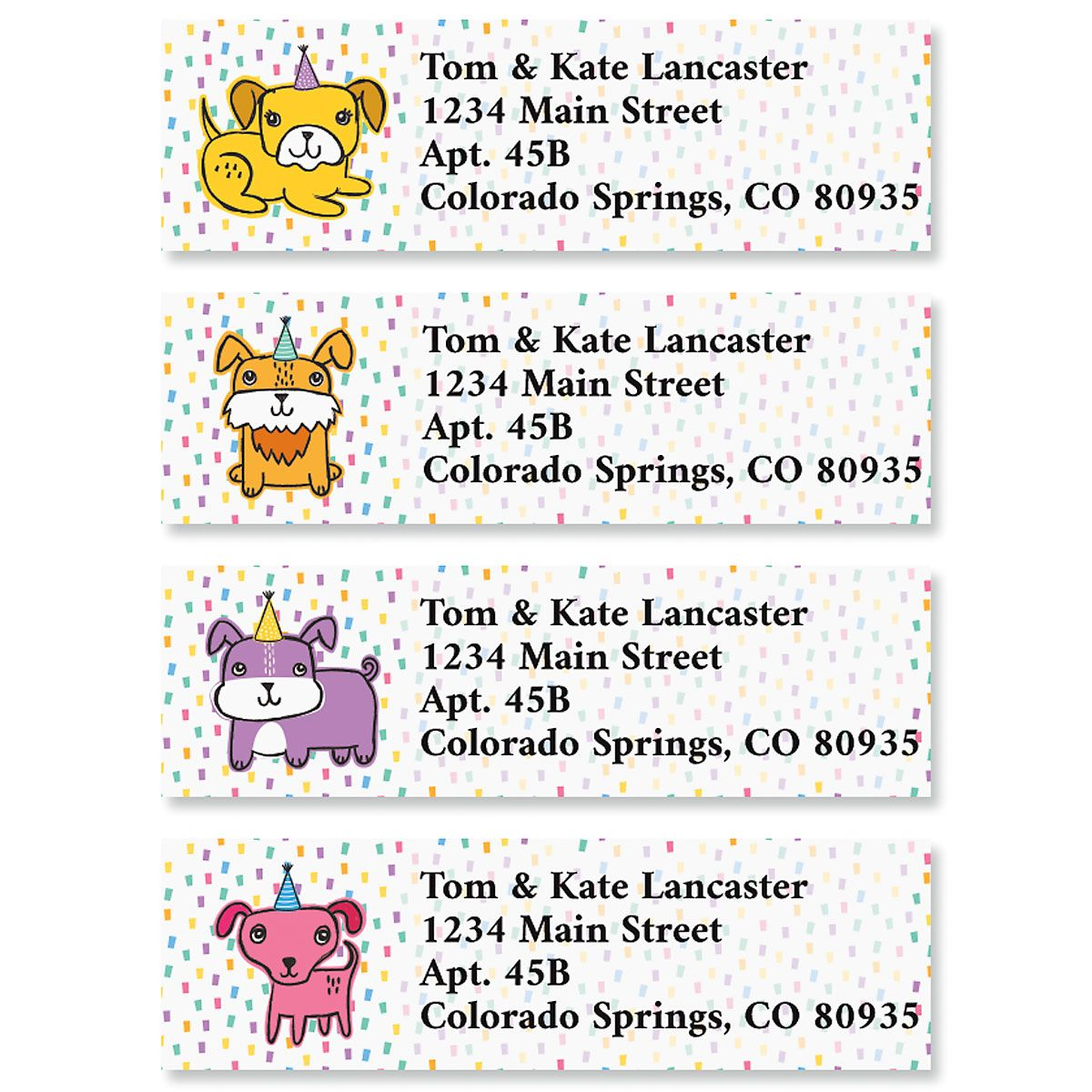 Party Puppies Classic Return Address Labels (4 Designs)