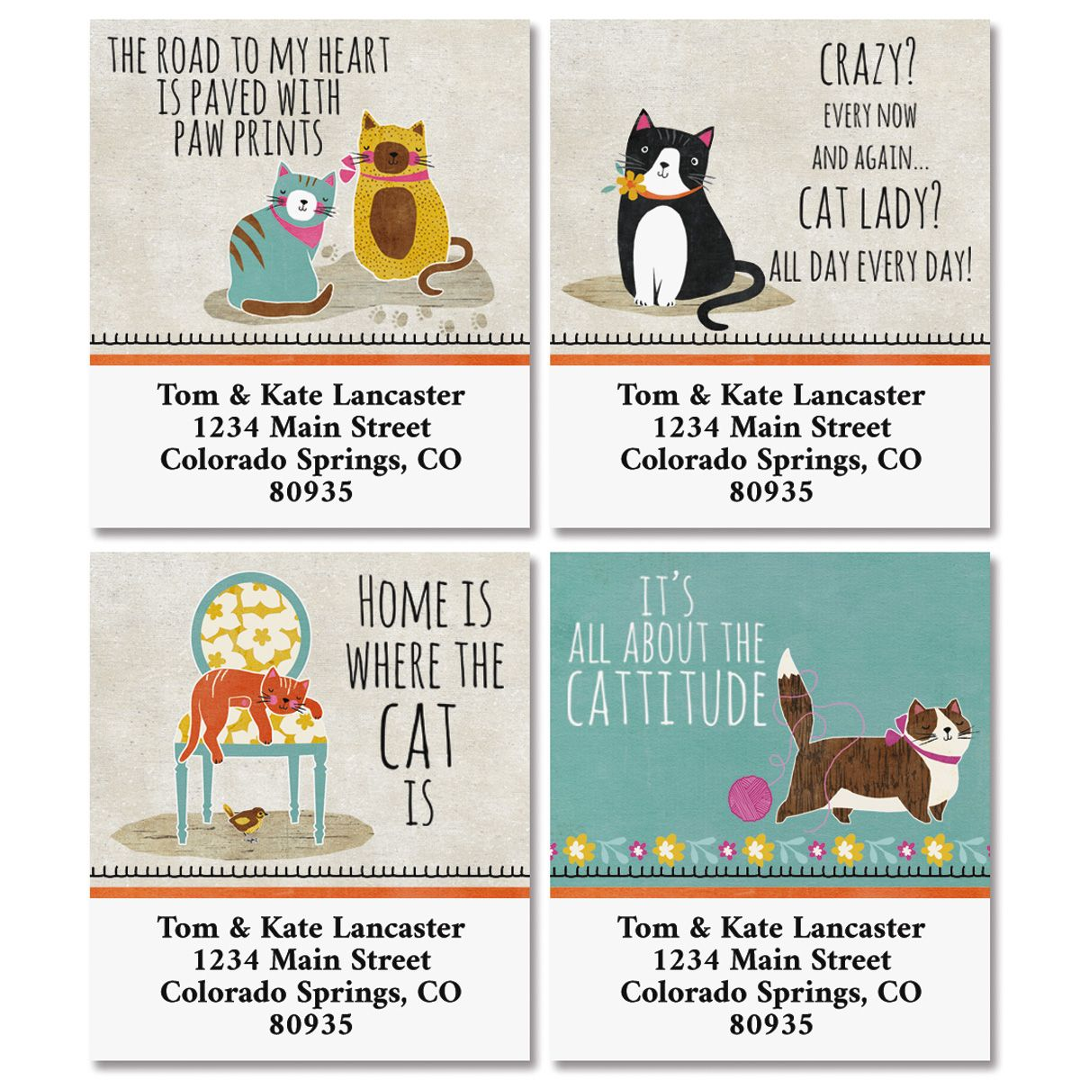 Crazy Cats Select Return Address Labels (4 Designs)