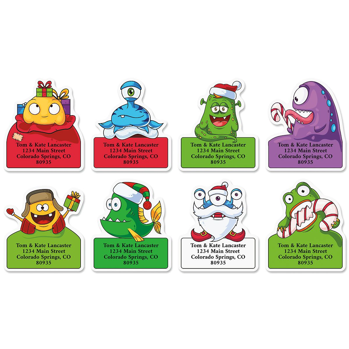 Merry Monsters Diecut Return Address Labels (8 Designs)