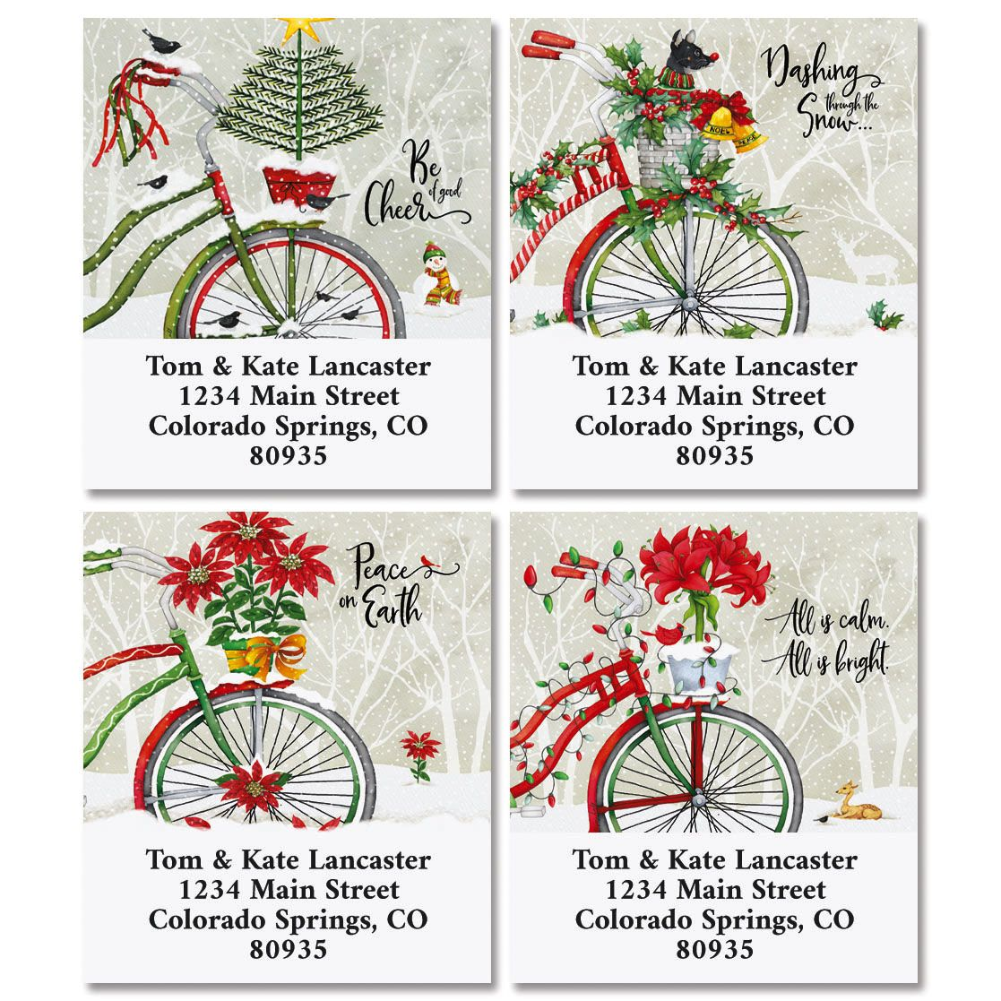 Christmas Bicycle Select Return Address Labels (4 Designs)