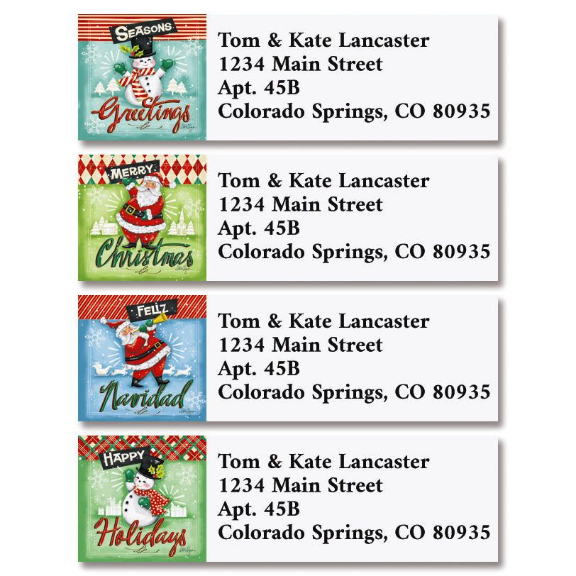 Retro Christmas Classic Return Address Labels (4 Designs)