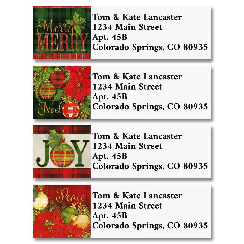 Plaid Christmas Classic Return Address Labels (4 Designs)