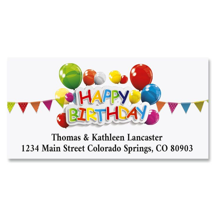 Happy Birthday Deluxe Return Address Labels (6 Designs)