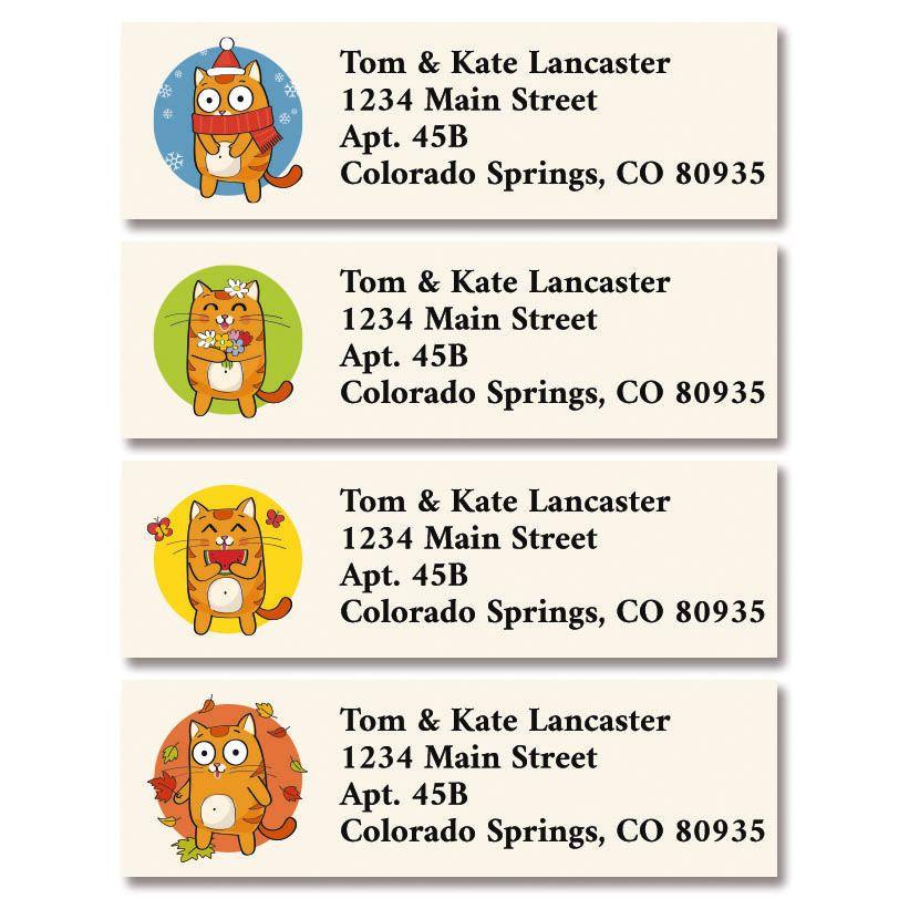 Cat Cartoon Classic Return Address Labels (4 Designs)