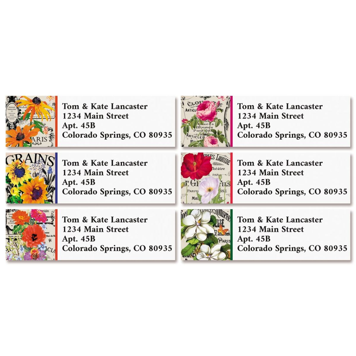 French Florals Classic Return Address Labels (6 Designs)