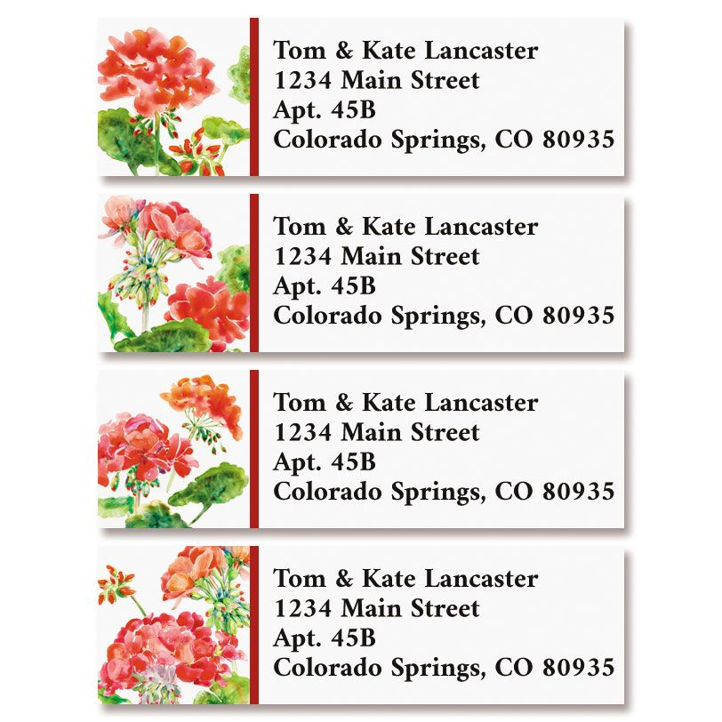 Red Geraniums Classic Return Address Labels (4 Designs)