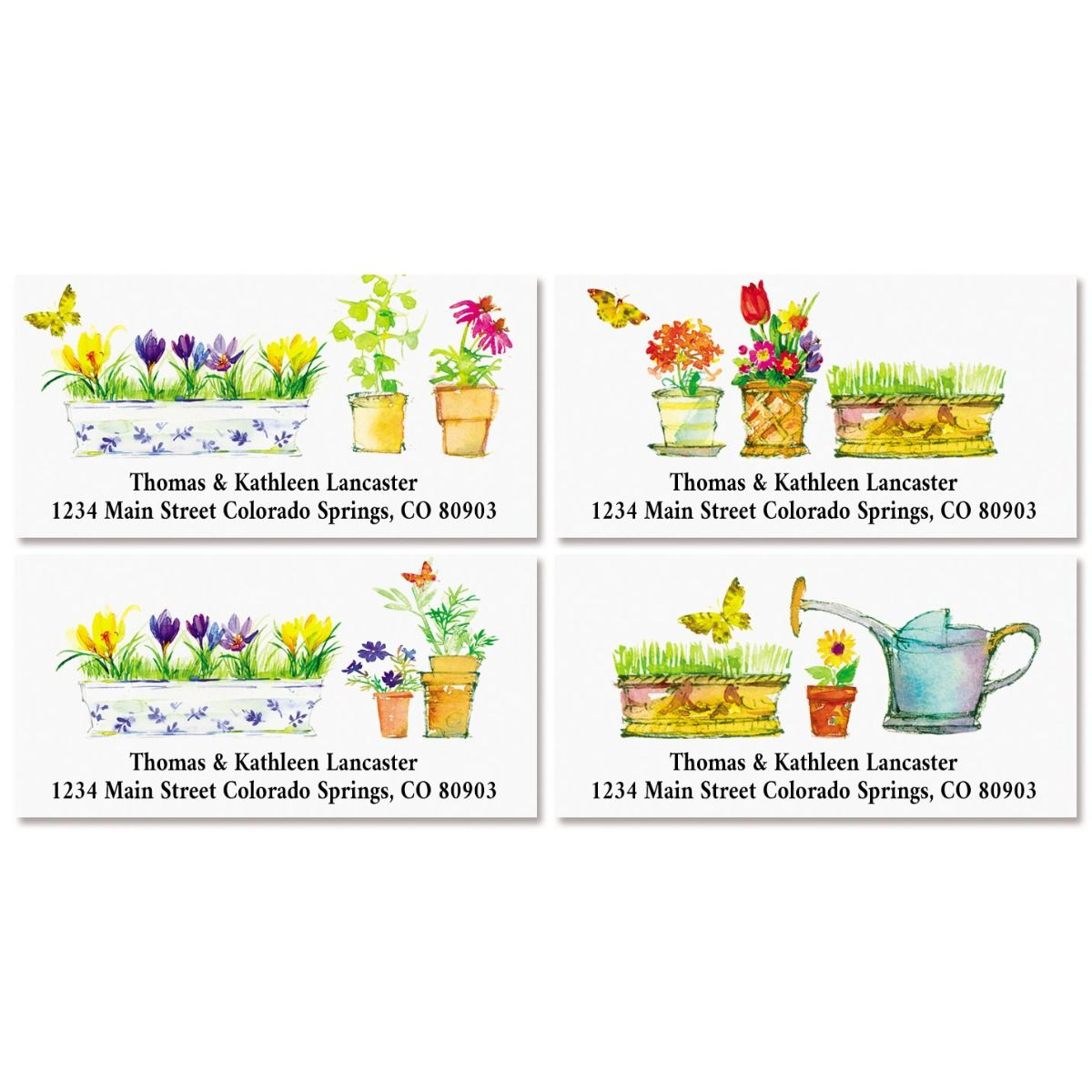 Flower Pots Deluxe Return Address Labels (4 Designs)