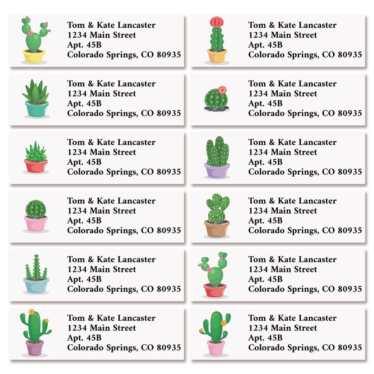 Cute Cactus Classic Return Address Labels (12 Designs)