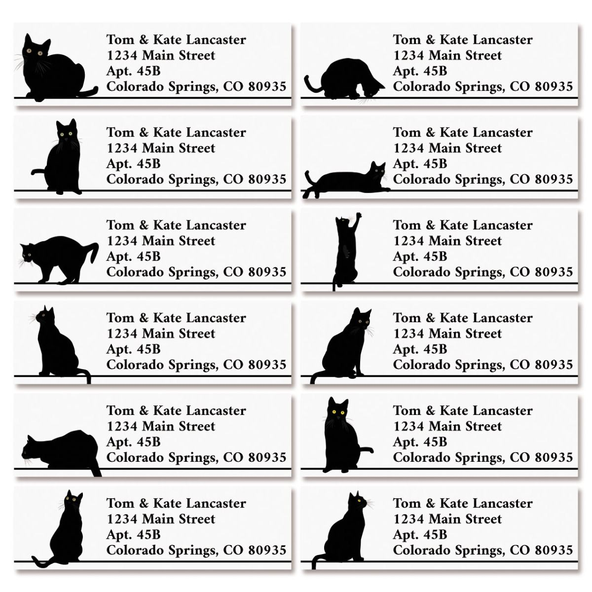 Black Cat Classic Return Address Labels (12 Designs)