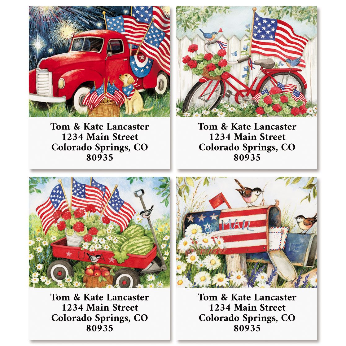 Flags Waving Select Return Address Labels (4 Designs)