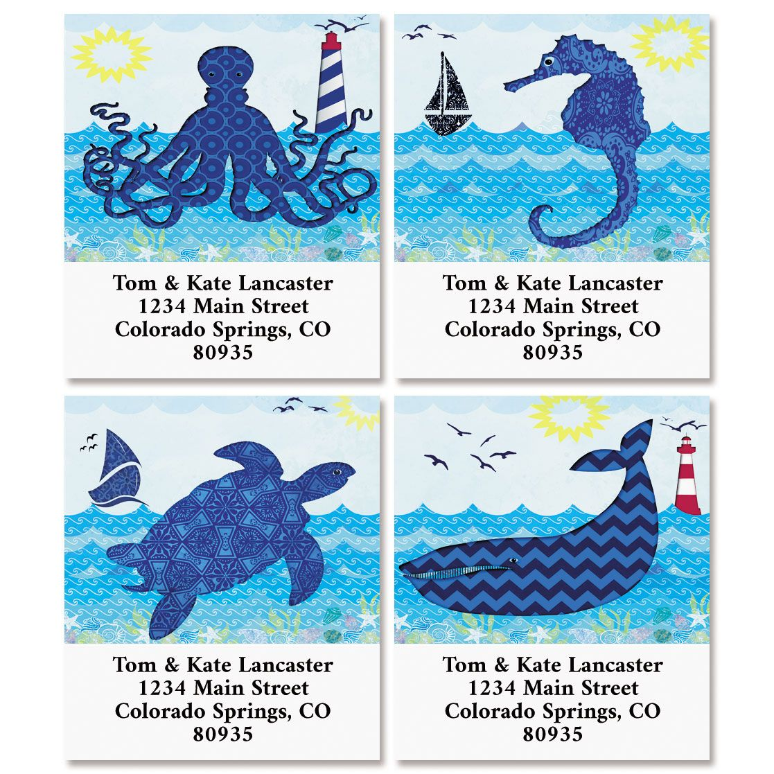 Catch a Wave Select Return Address Labels (4 Designs)