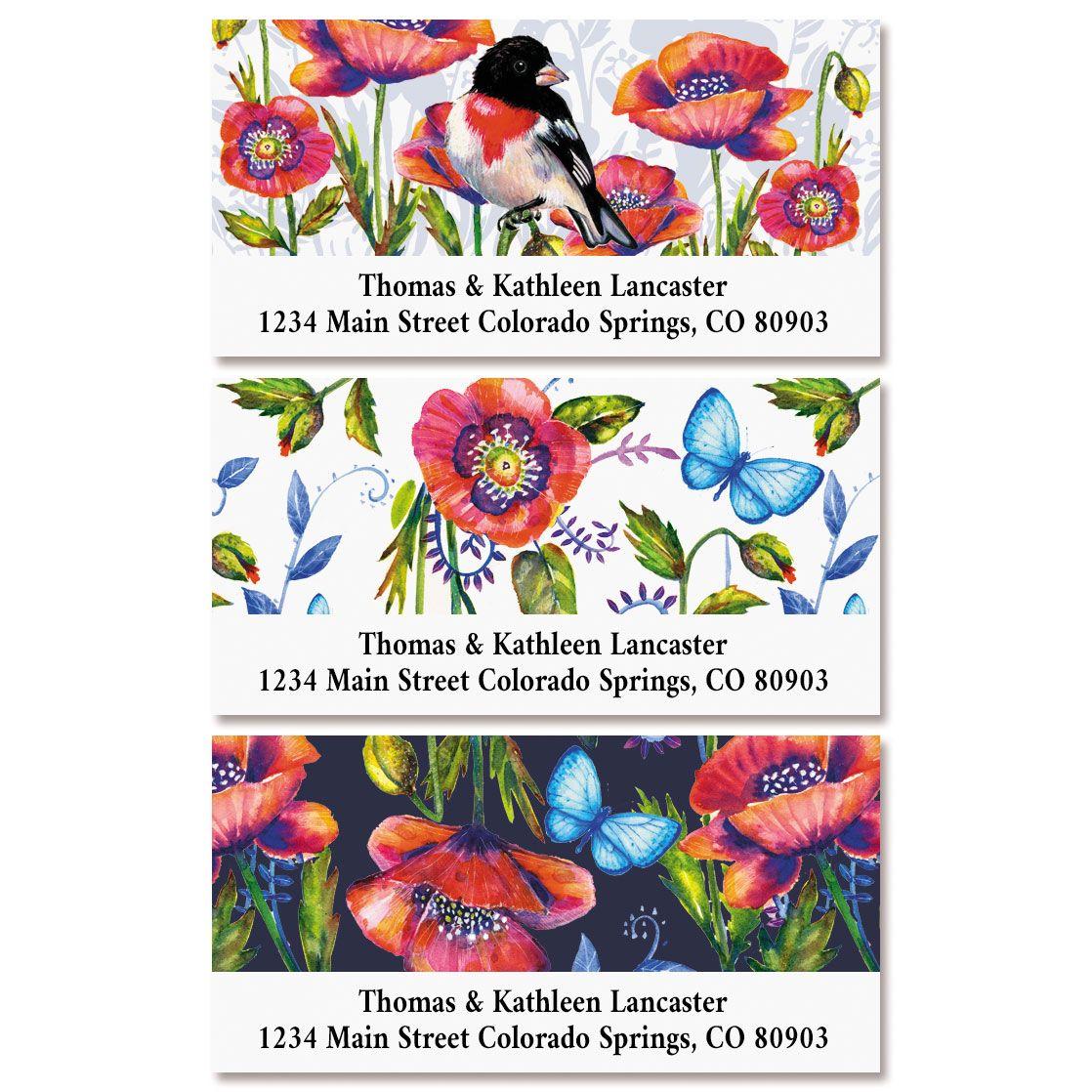 Poppies Deluxe Return Address Labels (3 Designs)