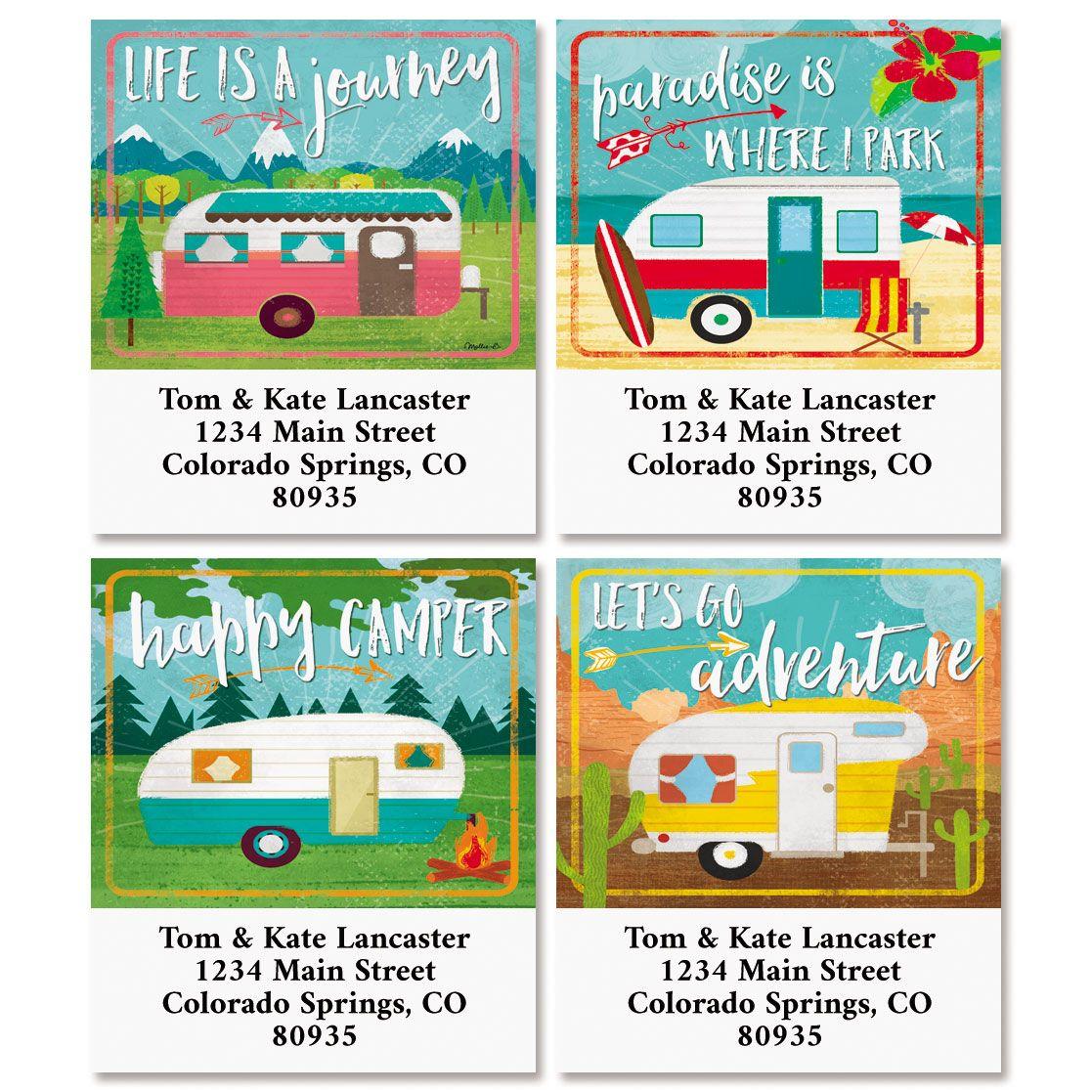 Happy Camper Select Return Address Labels (4 Designs)