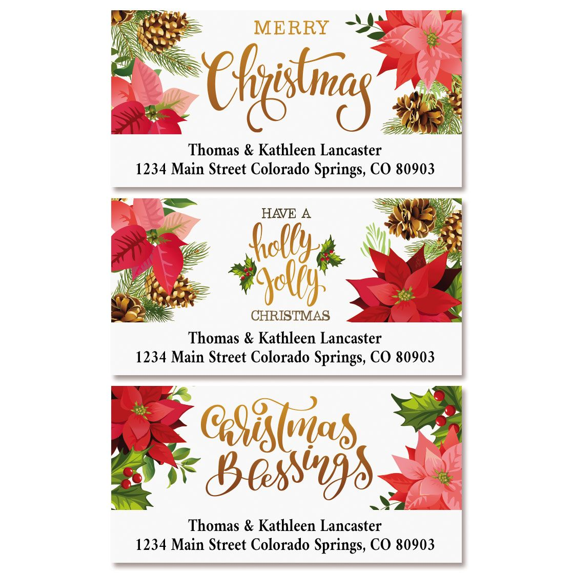 Poinsettia Greetings Deluxe Return Address Labels (3 Designs)