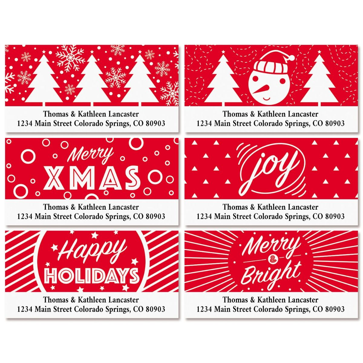 Red & White Deluxe Return Address Labels (6 Designs)