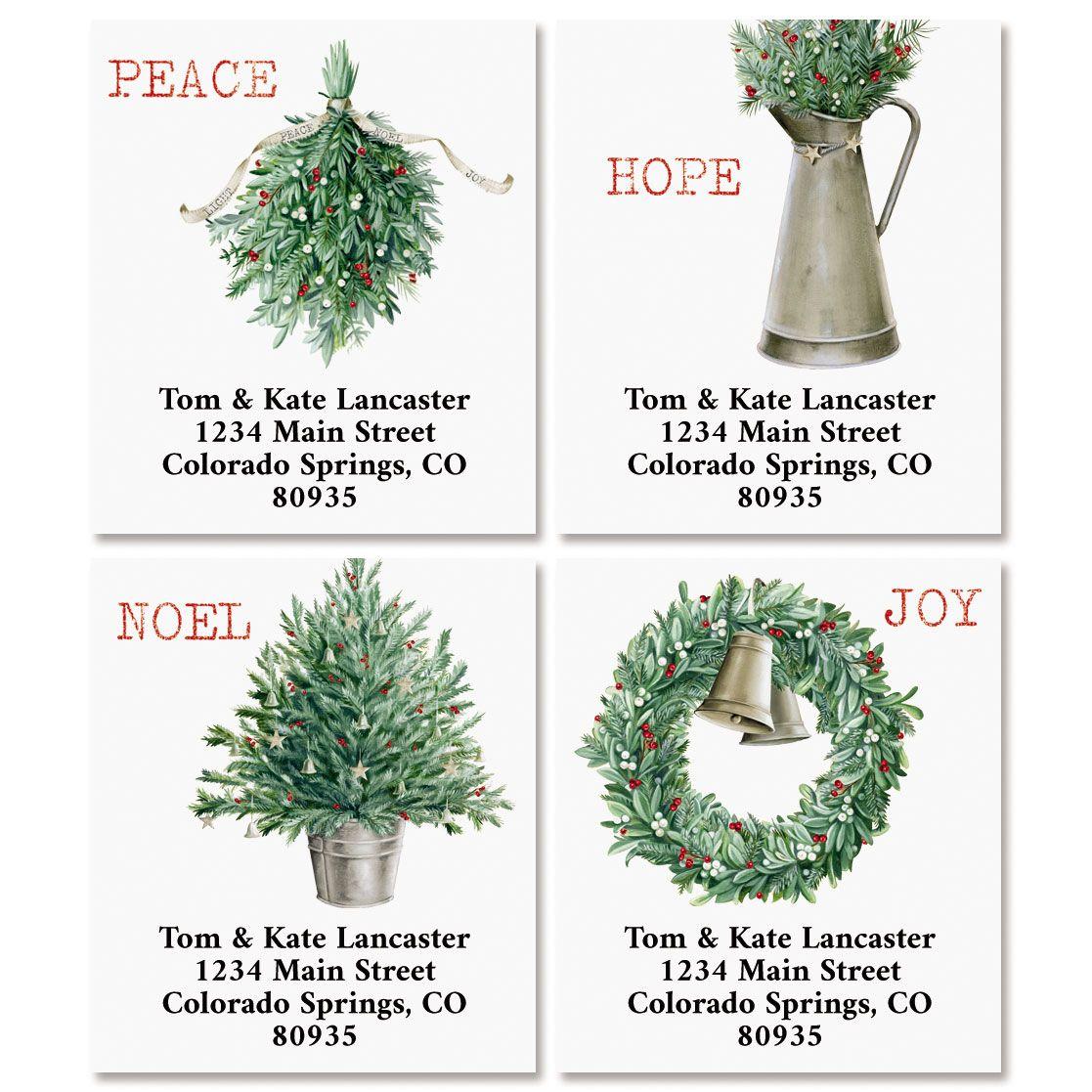 Holiday Greens Select Return Address Labels (4 Designs)