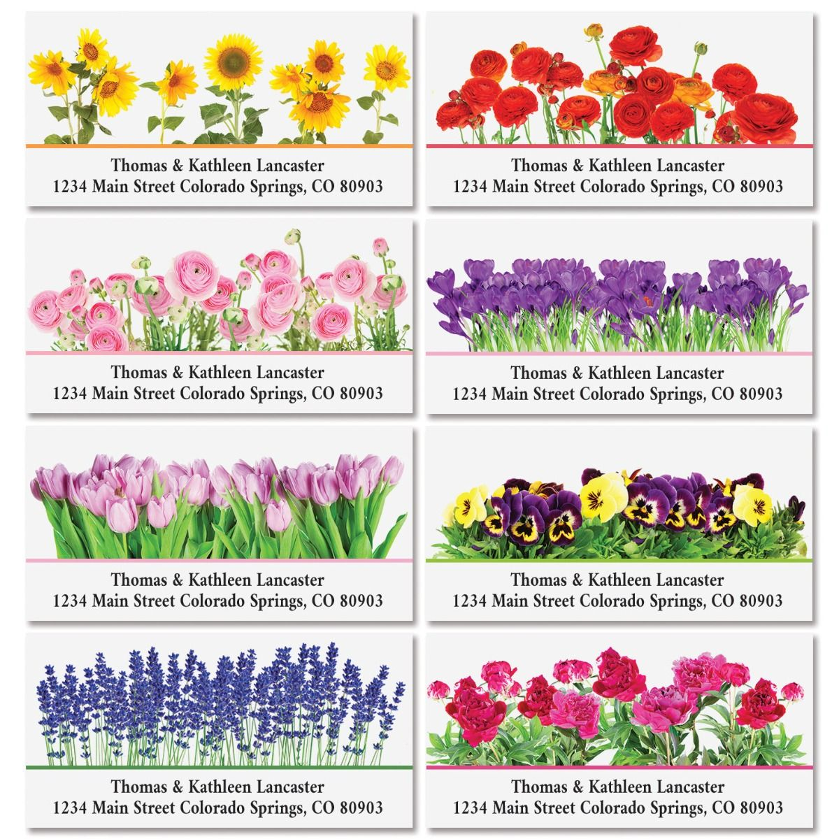 Seasonal Bouquet Deluxe Return Address Labels (8 Designs)
