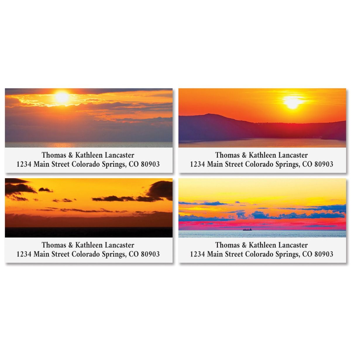 Sea Sunset Deluxe Return Address Labels (4 Designs)