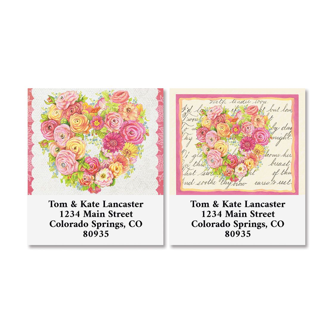 Valentine Flowers Select Return Address Labels (2 Designs)