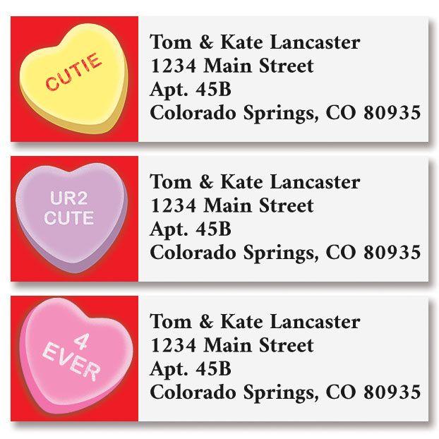 Candy Hearts Classic Return Address Labels (3 Designs)