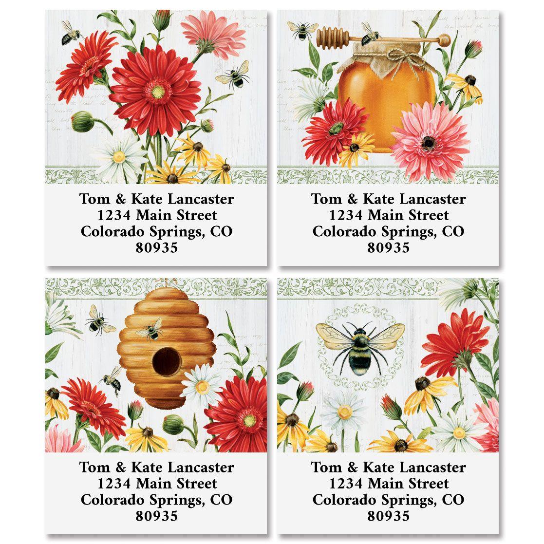 Floral Buzz Select Return Address Labels (4 Designs)