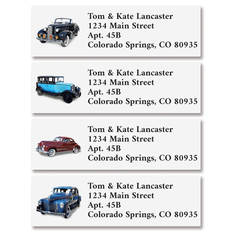 Classic Cars Classic Return Address Labels (4 Designs)