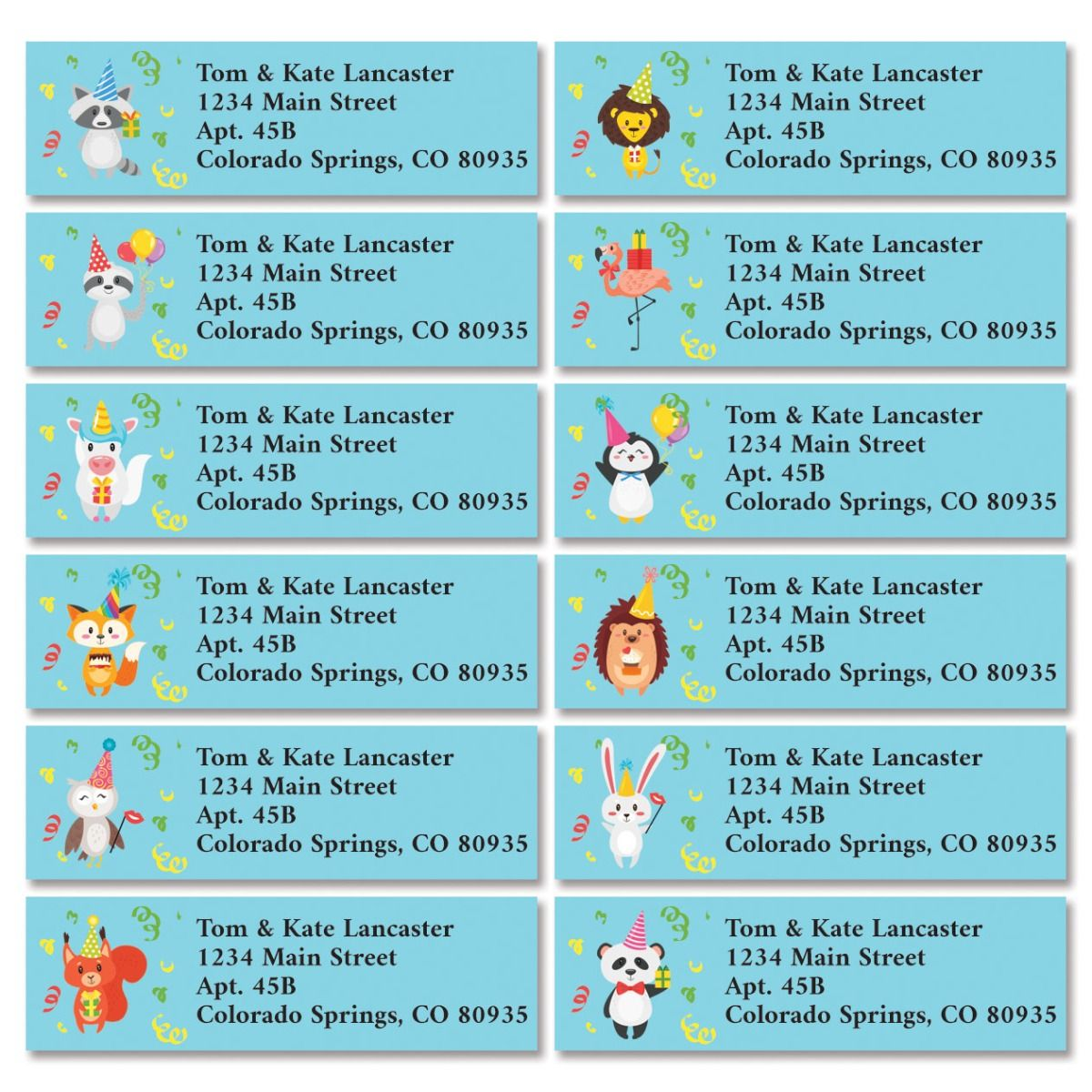 Party Animals Classic Return Address Labels (12 Designs)