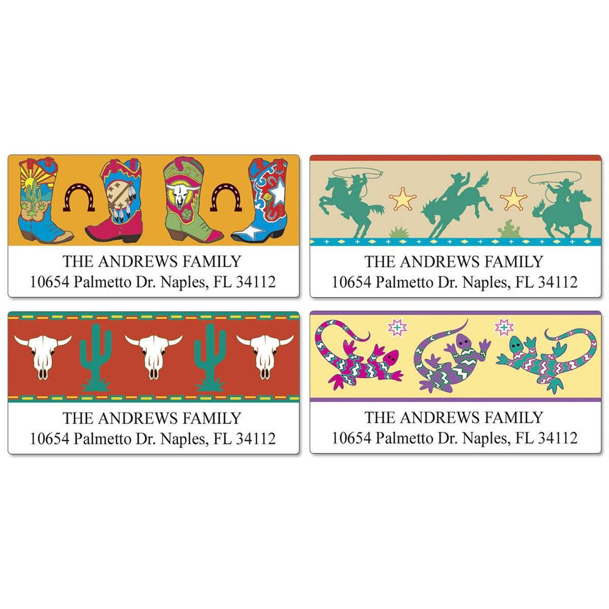 Colorful West Deluxe Return Address Labels  (4 Designs)