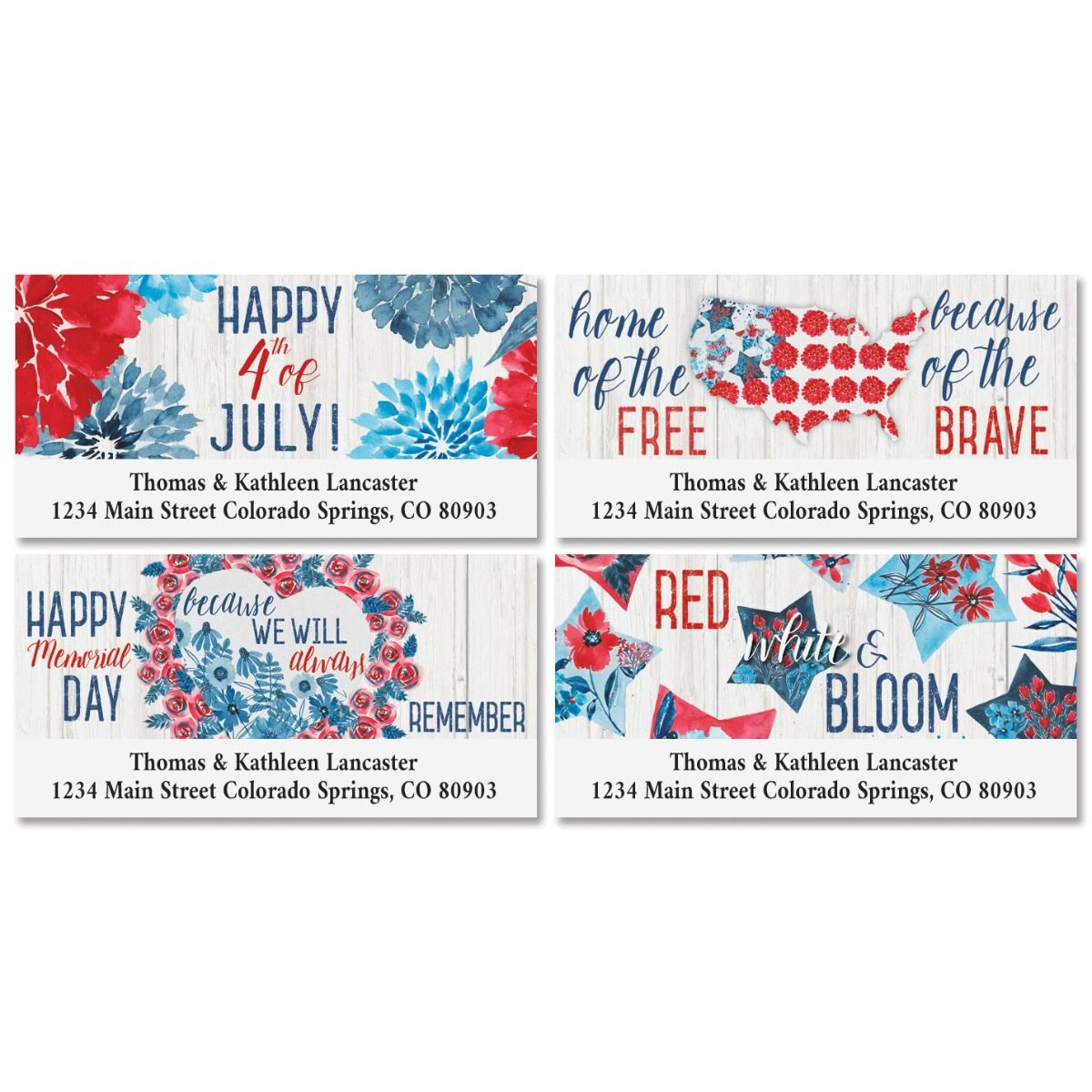 Patriotic Bloom Deluxe Return Address Labels (4 Designs)