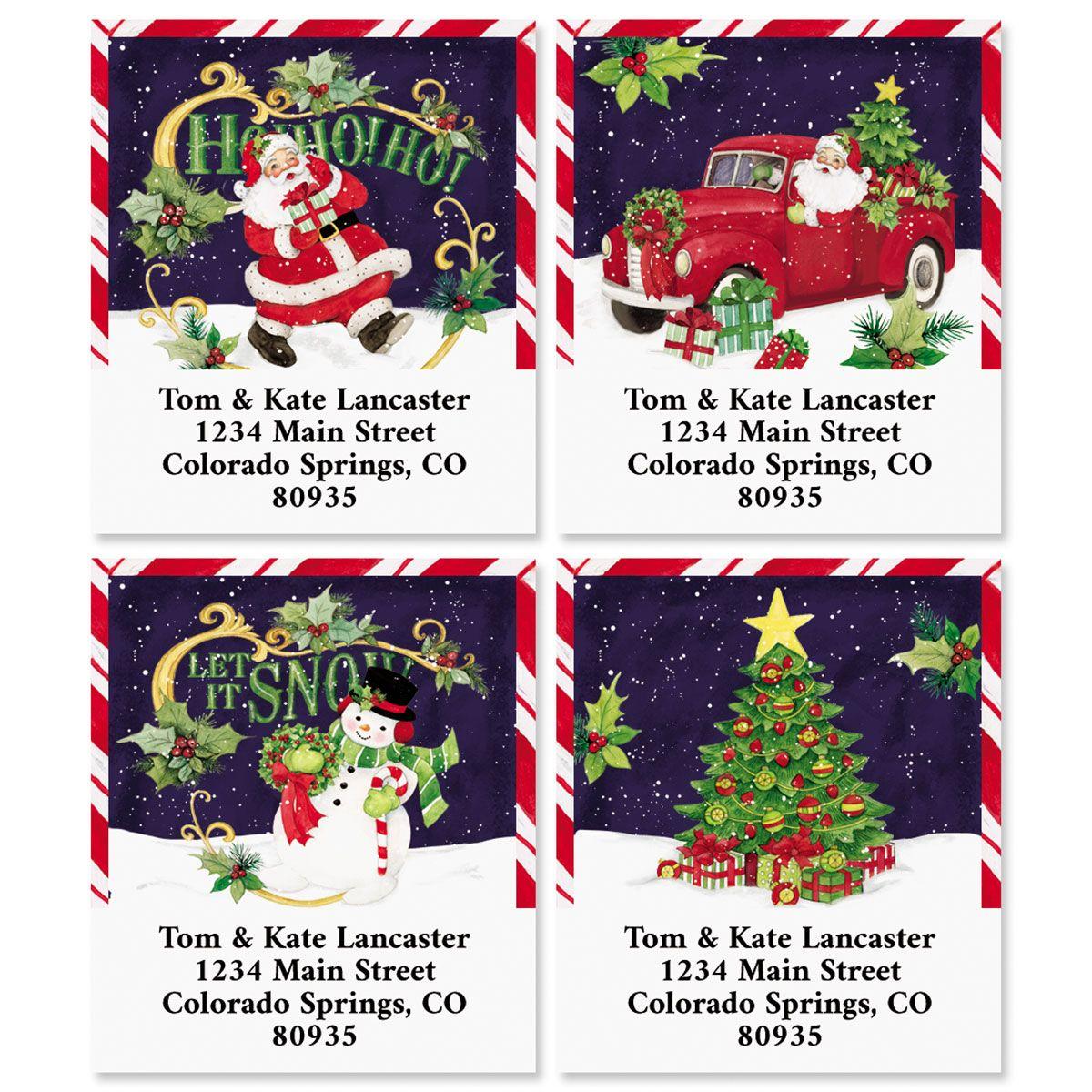 Retro Holiday Select Return Address Labels (4 Designs)