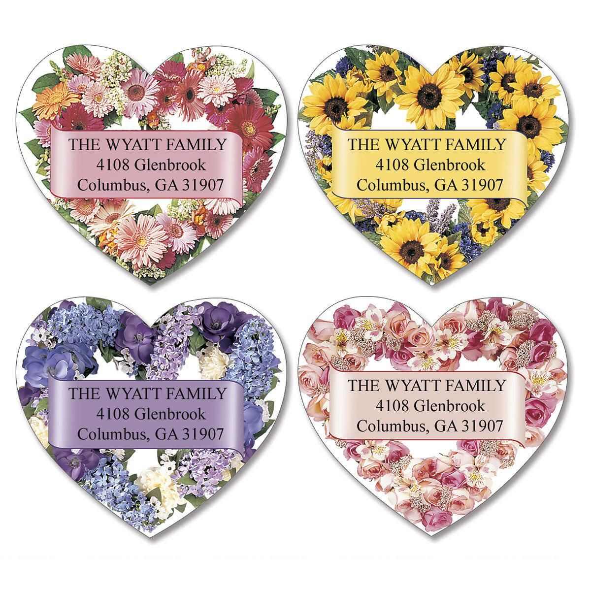 Heart Blossoms Diecut Return Address Labels  (4 Designs)