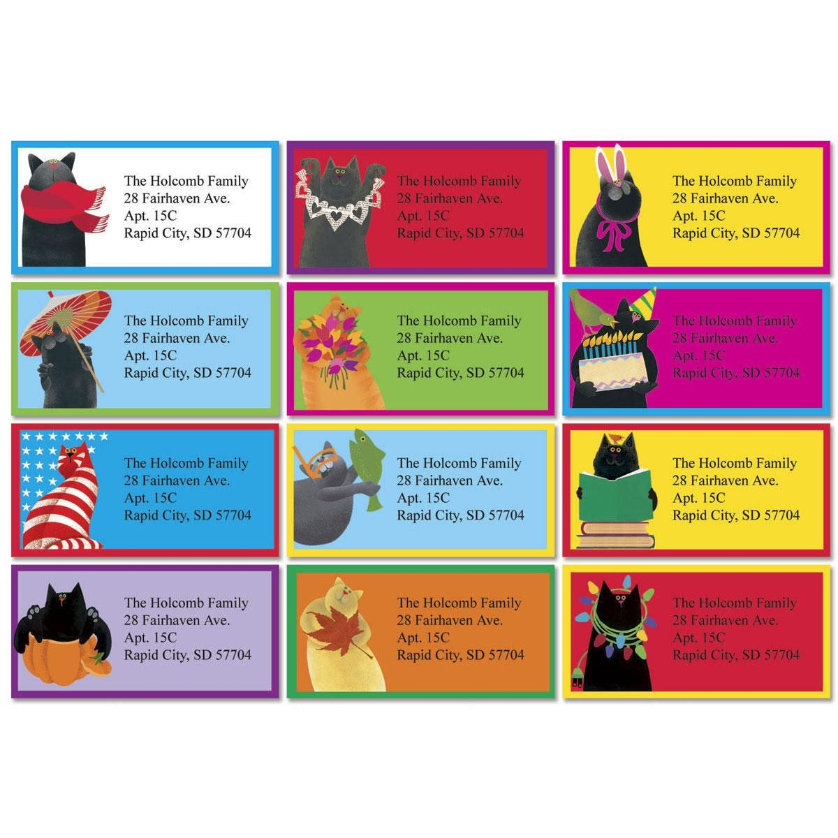 Linnea's  Year-Round Cats Border Return Address Labels  (12 Designs)