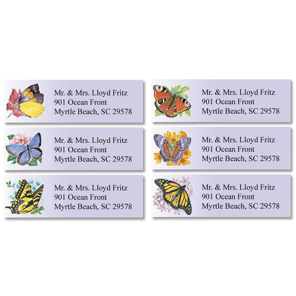 Brilliant Butterflies Classic Return Address Labels  (6 Designs)