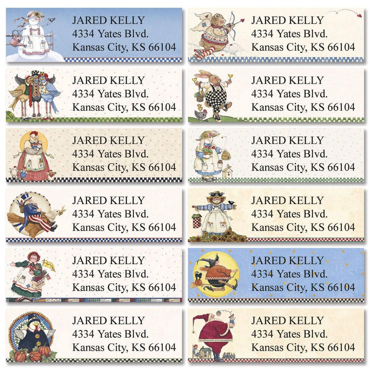 Sandi's Country Characters Classic Return Address Labels  (12 Designs)