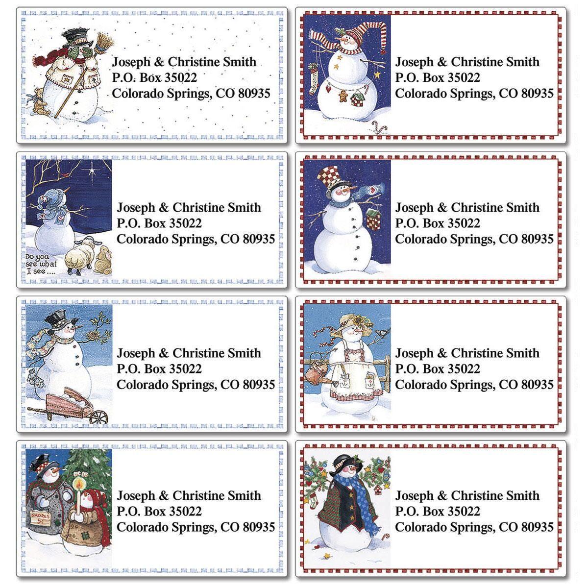 Sandi's Snowmen Border Address Labels  (8 Designs)