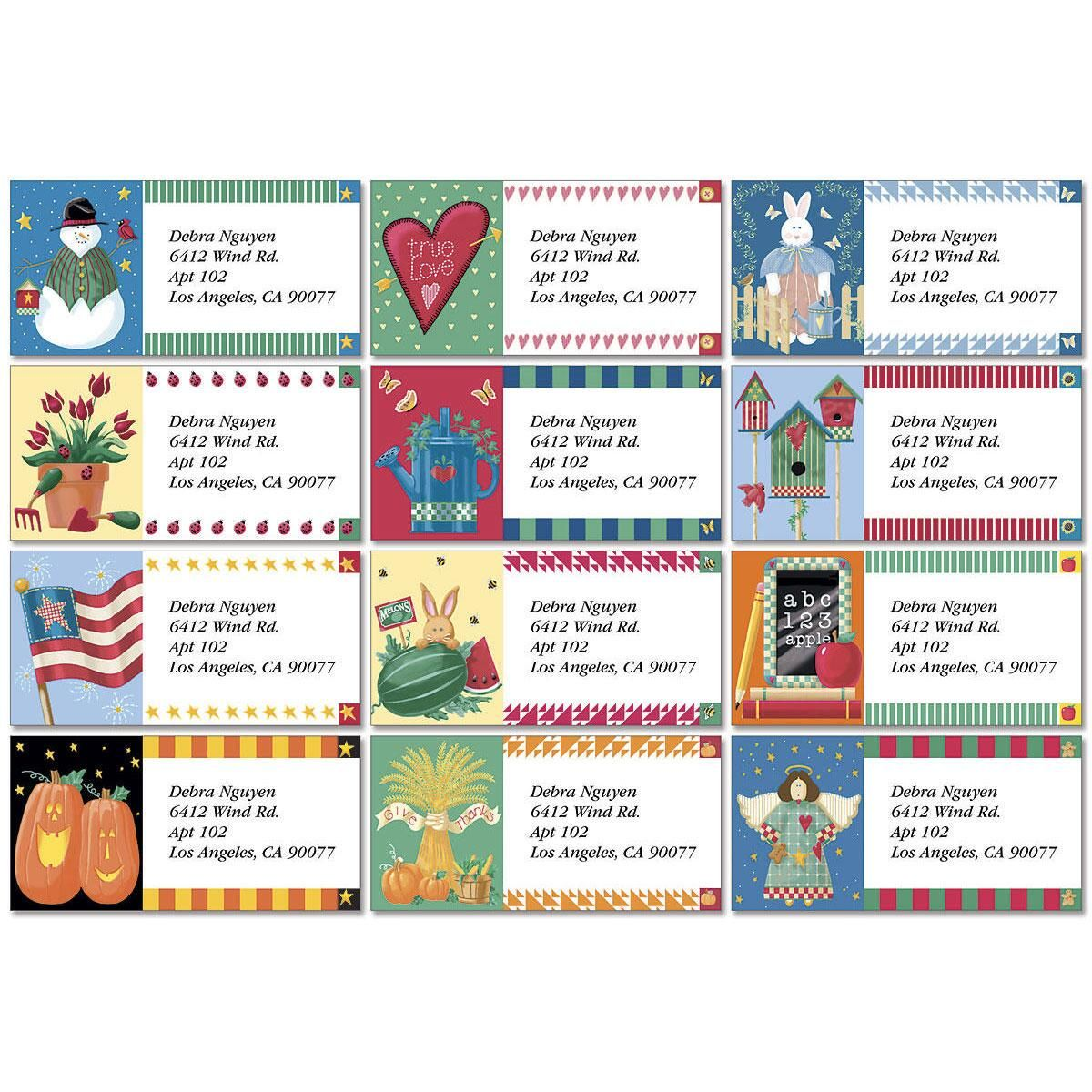 Vicky's Year-Round Border Address Labels  (12 Designs)