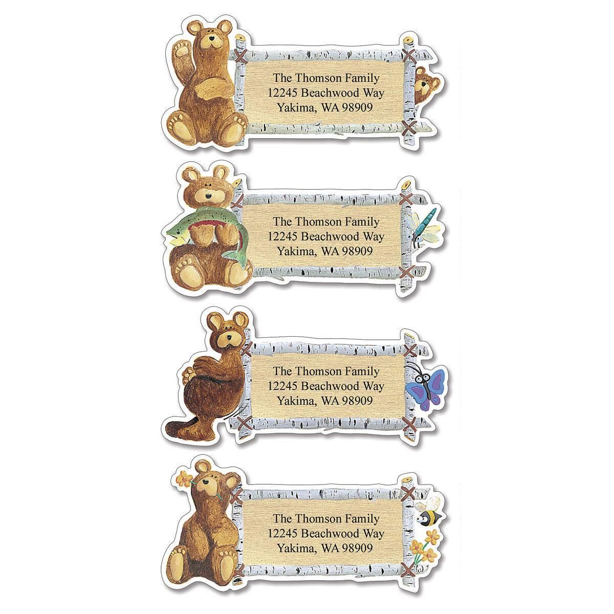 Bear Lodge Buddies Diecut Return Address Labels  (4 Designs)