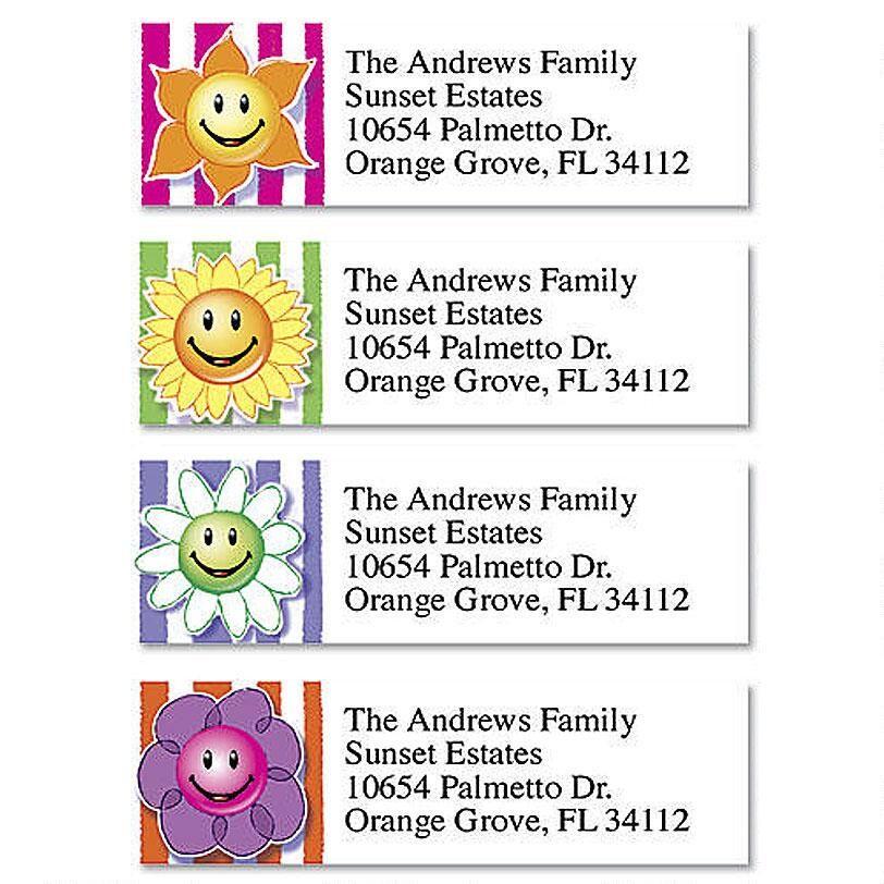 Flower Faces Classic Address Labels  (4 Designs)