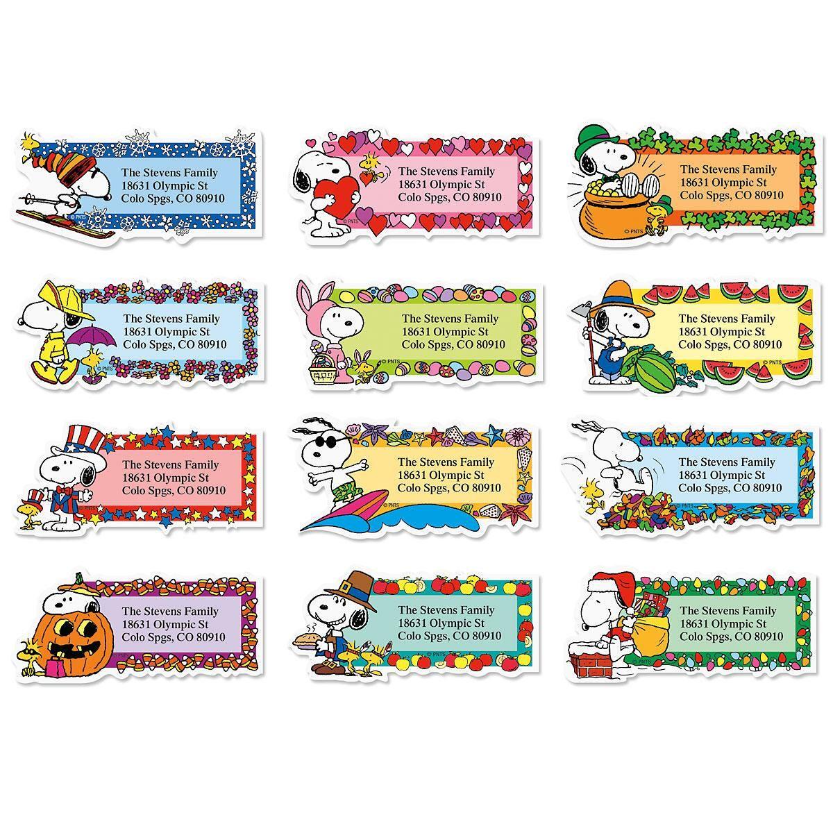 "SNOOPYâ""¢ Seasons of Fun  Diecut Return Address Labels  (12 Designs)"
