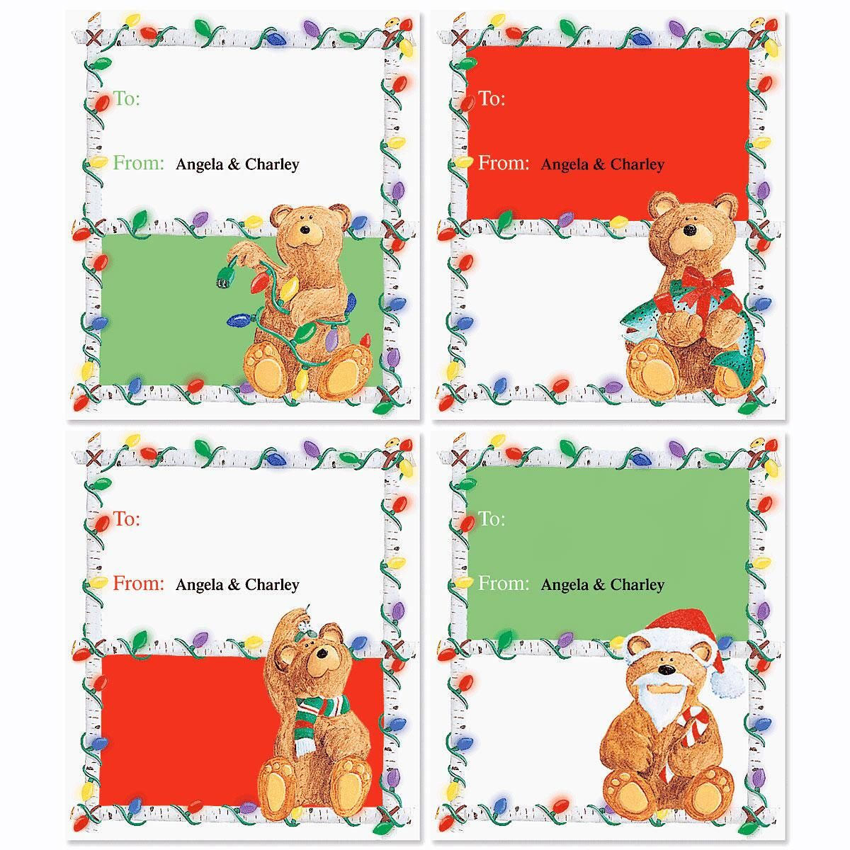 Bear Lodge Christmas To/From Labels   (4 designs)