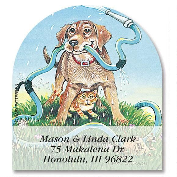 Dog Day Afternoon Diecut Return Address Labels  (6 Designs)