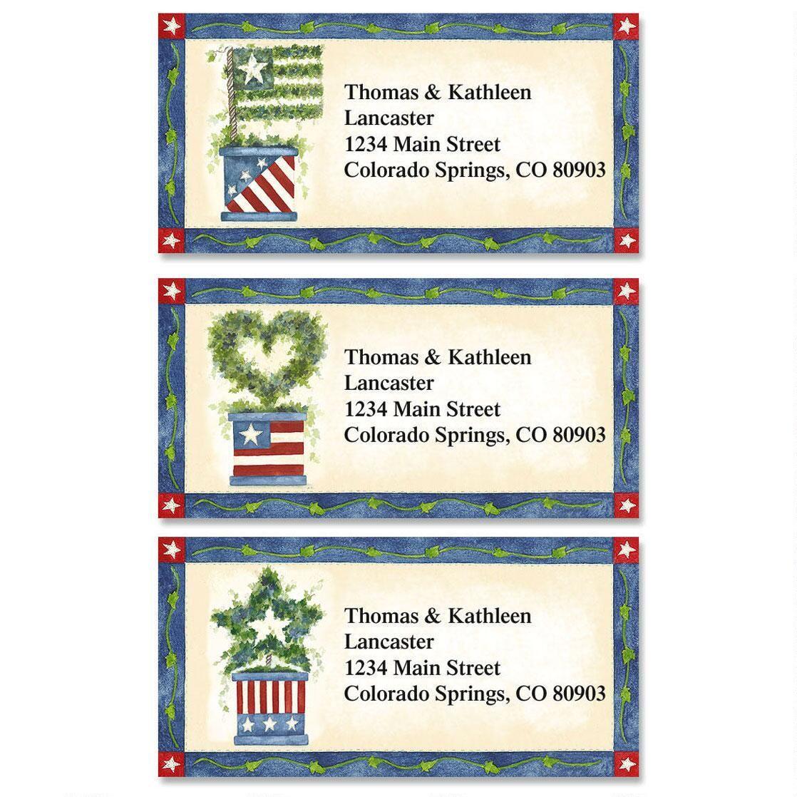 Star Spangled Ivy Border Return Address Labels   (3 Designs)
