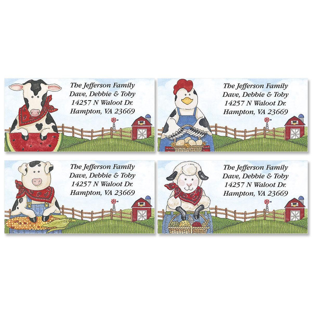 Sandi's Farmyard Friends Border Return Address Labels  (4 Designs)