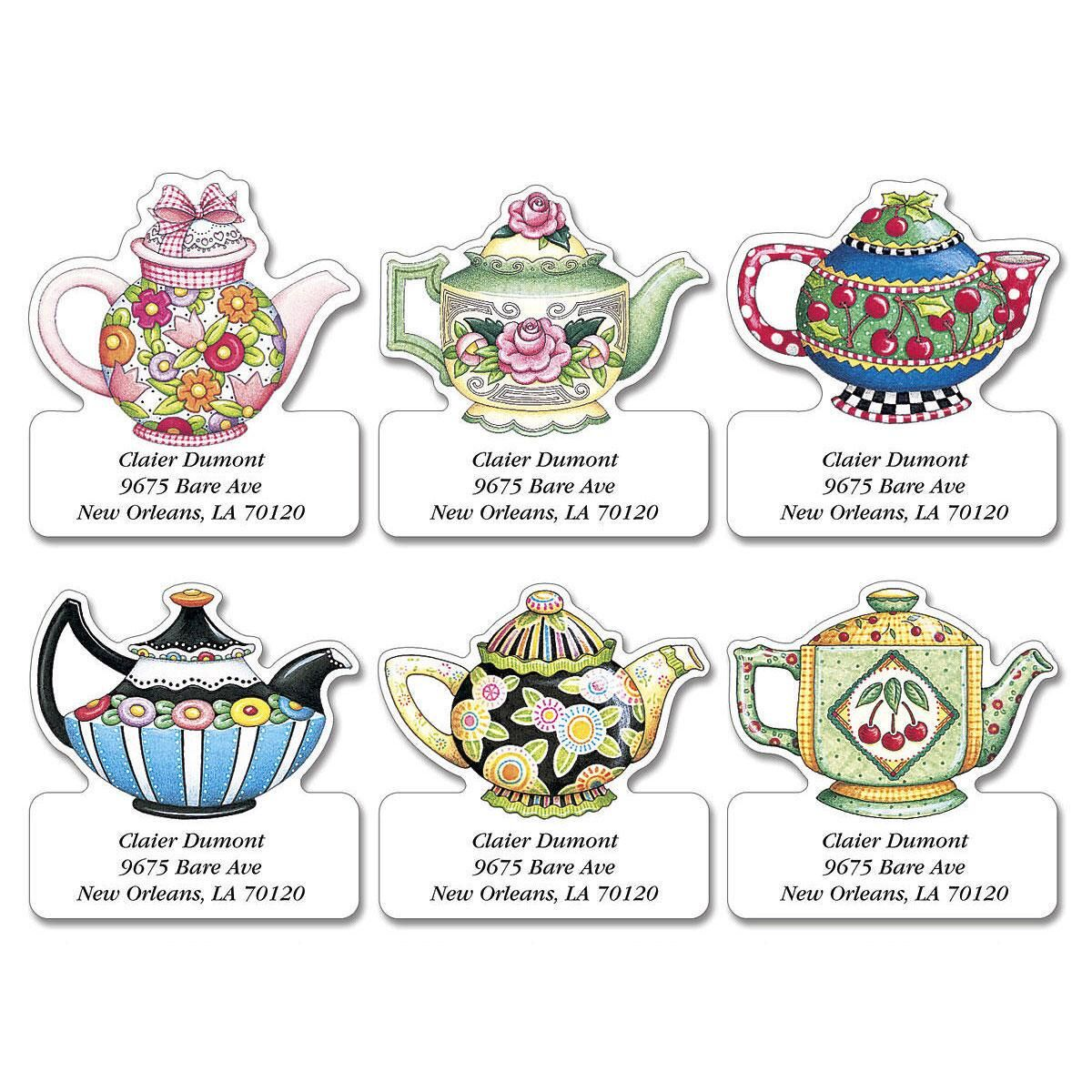 Teatime with Mary  Diecut Return Address Labels  (6 Designs)